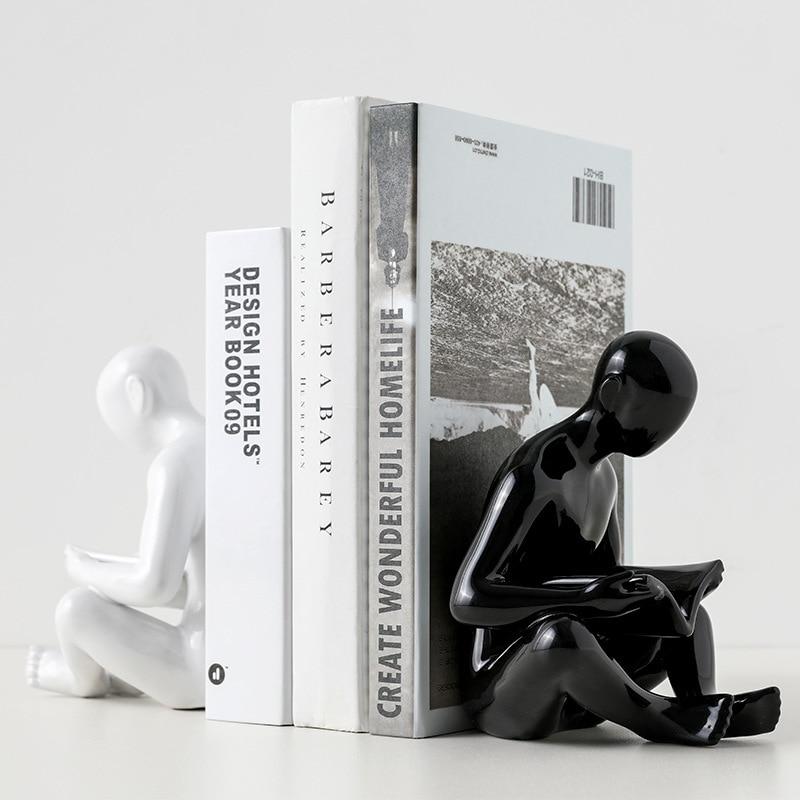 Creative Simple Study Ceramic Human Body Bookend Office Bookshelf Bookcase Desktop Home Living Room Decoration Decoration