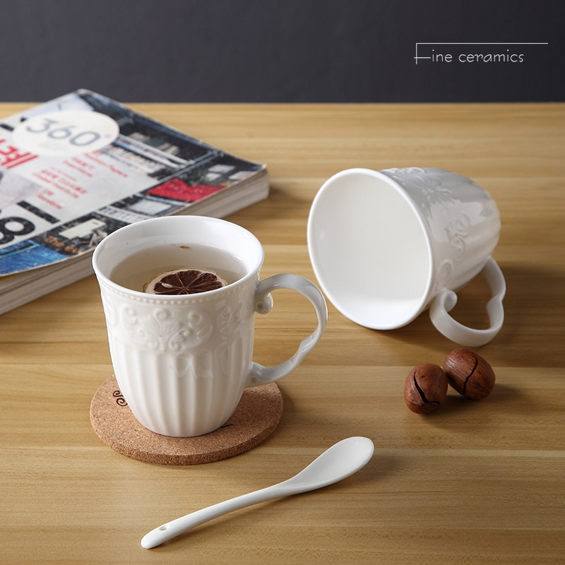 350ML, taza de café de porcelana en relieve blanca, taza de tazas vintage, taza de té de cerámica linda, tazas de café creativas, regalo de café VESO