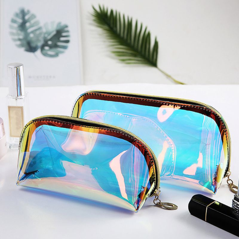 Holographic Cosmetic Bag Transparent Makeup Case Pouch Toiletry Travel Organizer Y3NE