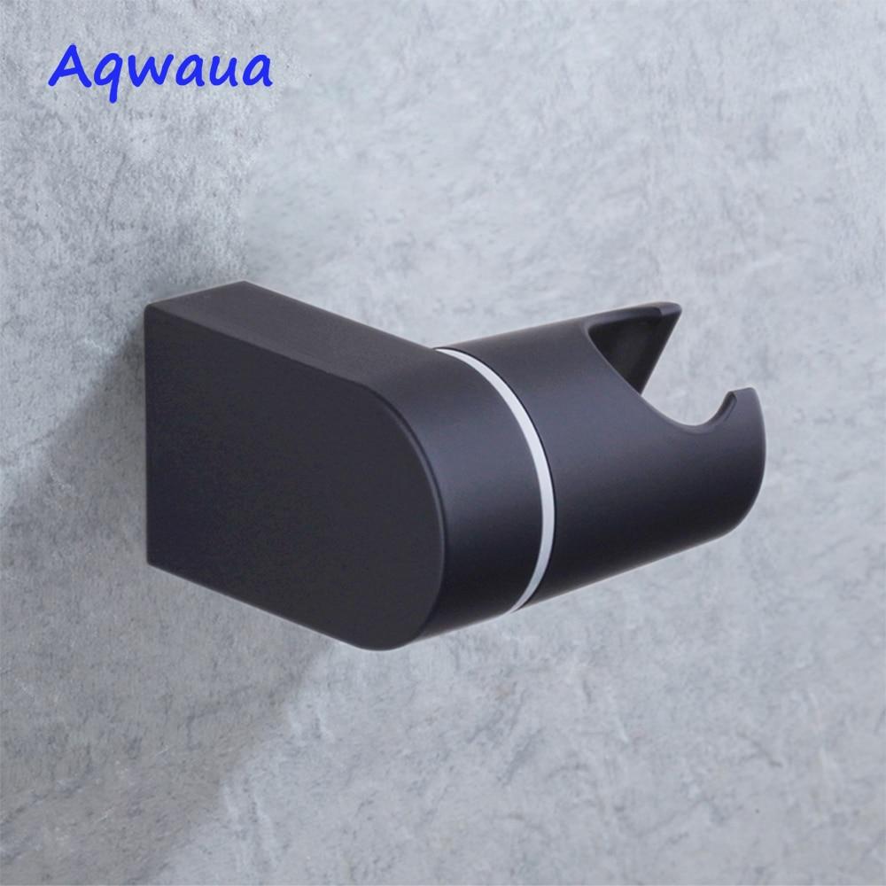 Aqwaua Shower Head Holder Bracket Stand 2 Position For Bathroom Use Standard Size Bath Accessories Matt Black ABS Plastic
