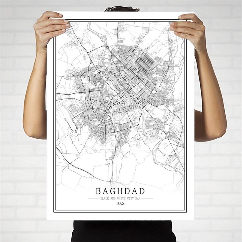Cartel de mapa de la ciudad en blanco y negro de Iraq, sala de estar nórdica, decoración del hogar, arte de la pared, pintura de lona creativa regalo