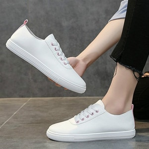 2020 Women's White Leather Shoes Casual Flat Walking Sneakers Chaussures Femme Shoes for Women Zapatos De Mujer Tenis Basket