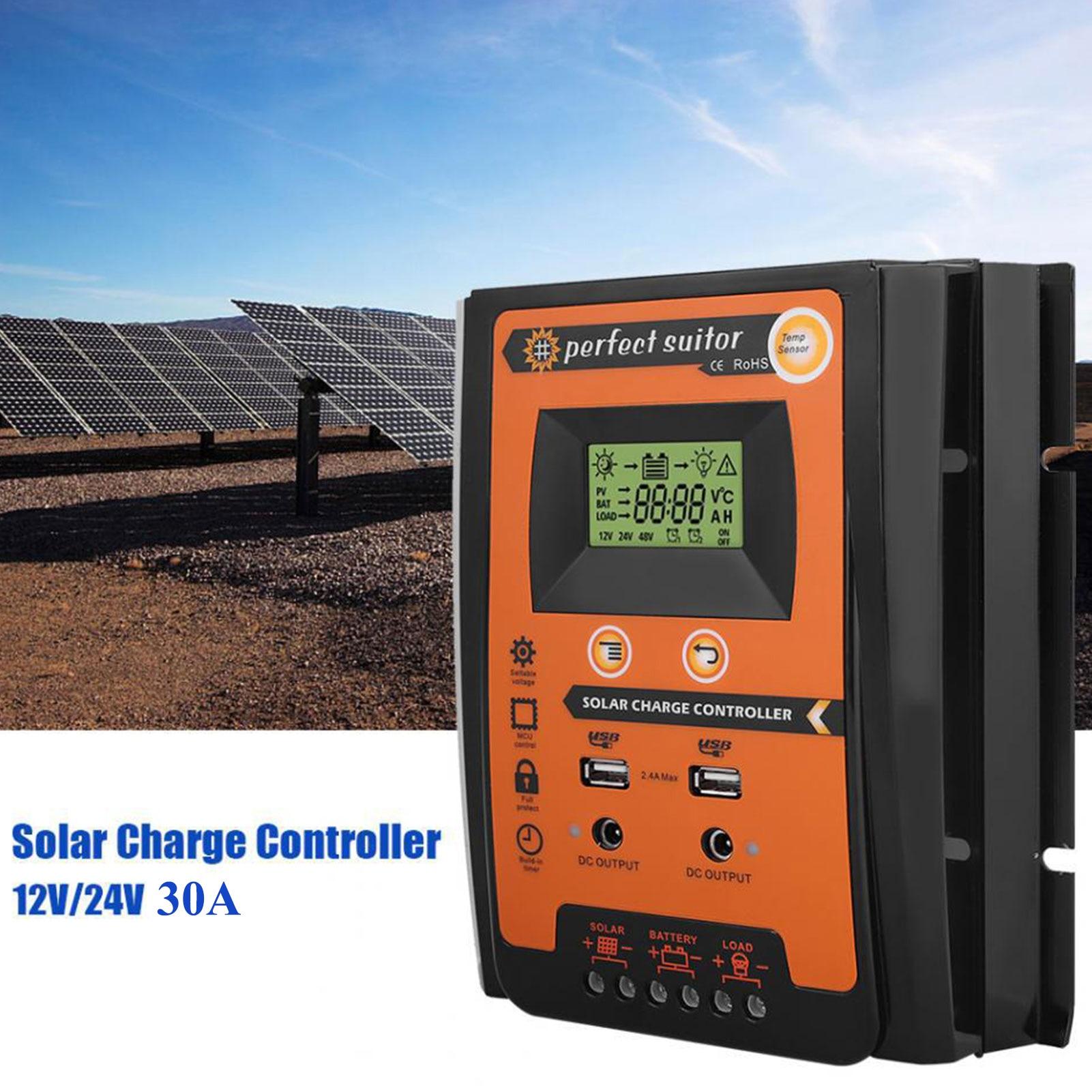 12 فولت 24 فولت MPPT الشمسية جهاز التحكم في الشحن الواح البطاريات الشمسية مكيف الشمسية منظم الطاقة شاشة الكريستال السائل مع منفذ USB المزدوج