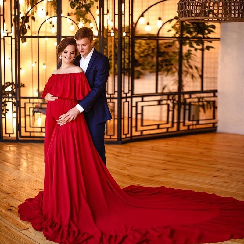 نمط جديد قبالة الكتف ثوب مسائي أحمر التصوير الدعامة النساء الحوامل فستان ماكسي ثوب الأم الأم