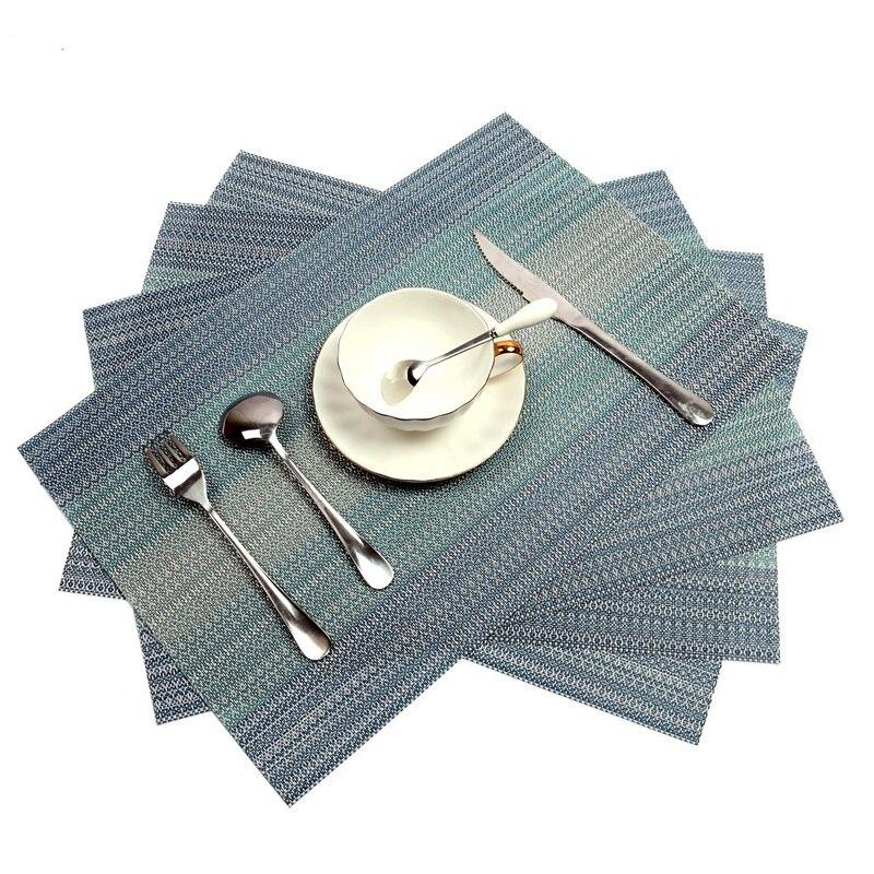 Placemats conjunto de 4 crossweave tecido vinil placemat para mesa de cozinha resistente ao calor antiderrapante tapetes de mesa de cozinha fácil de limpar (b