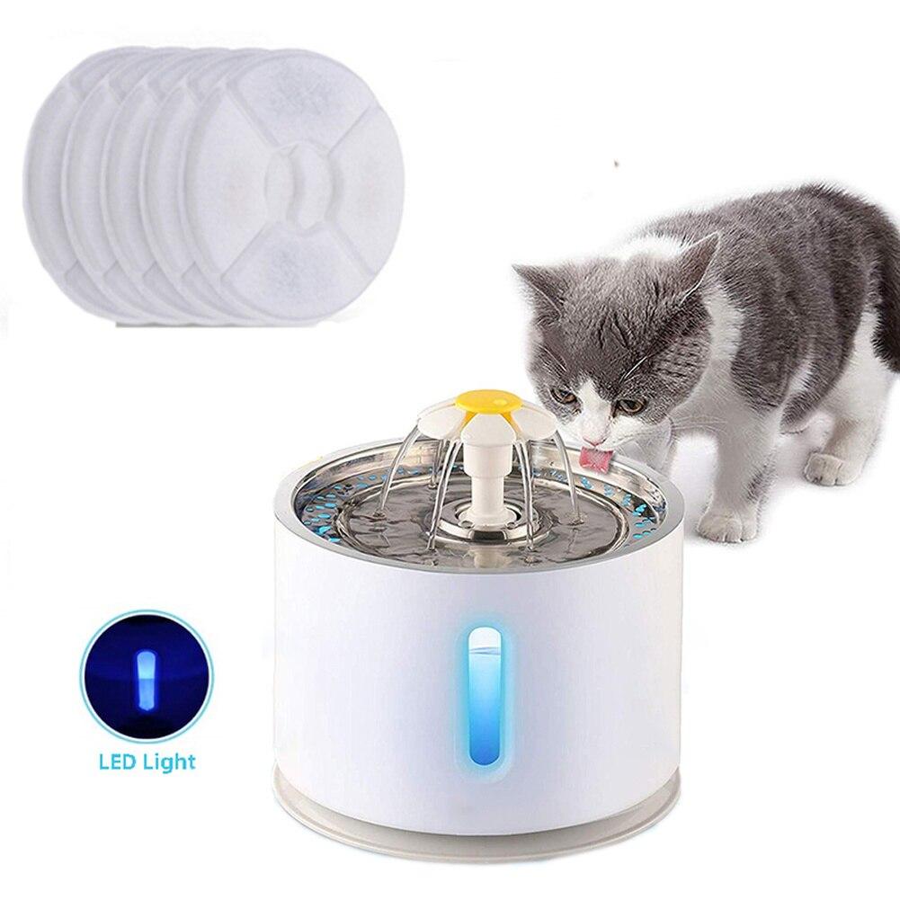نافورة مياه أوتوماتيكية للقطط ، مع إضاءة LED ، 5 عبوات من مرشحات 2.4 لتر ، USB ، شارب صامت للكلاب والقطط ، وعاء التغذية ، موزع الشرب