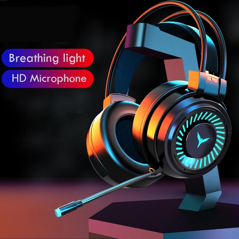 Jogos fones de ouvido gamer surround som estéreo com fio usb microfone luz colorida computador portátil jogo fone ouvido