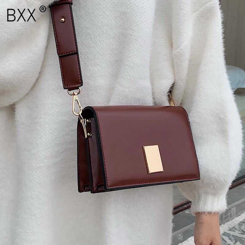 [BXX] Solid Color PU Leather Bags For Women 2021 Autumn Crossbody Shoulder Messenger Bag Female Travel Handbags and Purses HI822