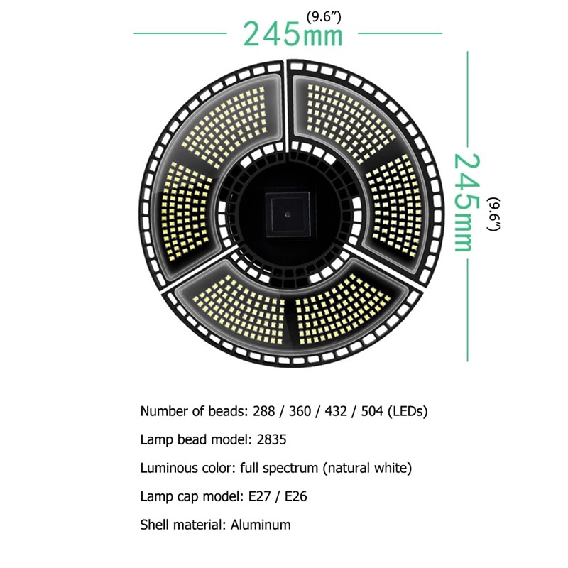 OULALA LED Grow Lights Plant Growth Lamp Full Spectrum Waterproof Foldable 504 Beads Planting Lamp enlarge
