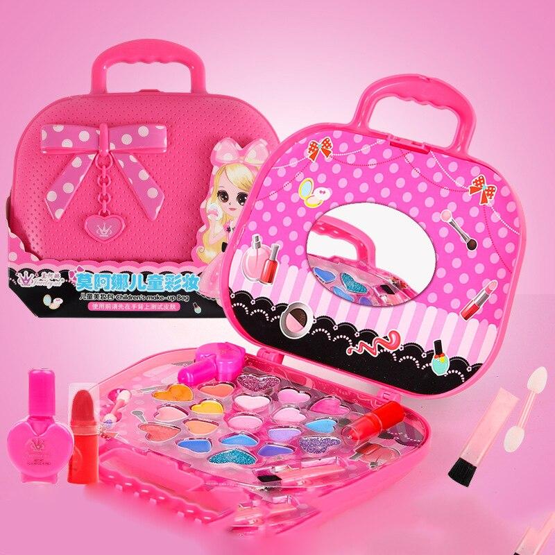 Детский набор для макияжа игрушки, для чемодана туалетный косметика для девочек игрушка пластик безопасность красоты ролевые игры для дете...
