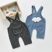 2021 Autumn New Kids Jumpsuit Boys And Girl Denim Overalls Baby Big Pocket Casual Pants Children Loo