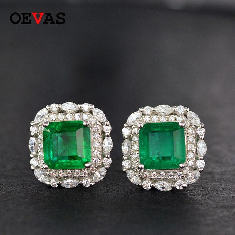 OEVAS 100% 925 Sterling Silber Funken 7*7mm Smaragd Stud Ohrringe Hohe Carbon Diamant Hochzeit Partei Edlen Schmuck großhandel