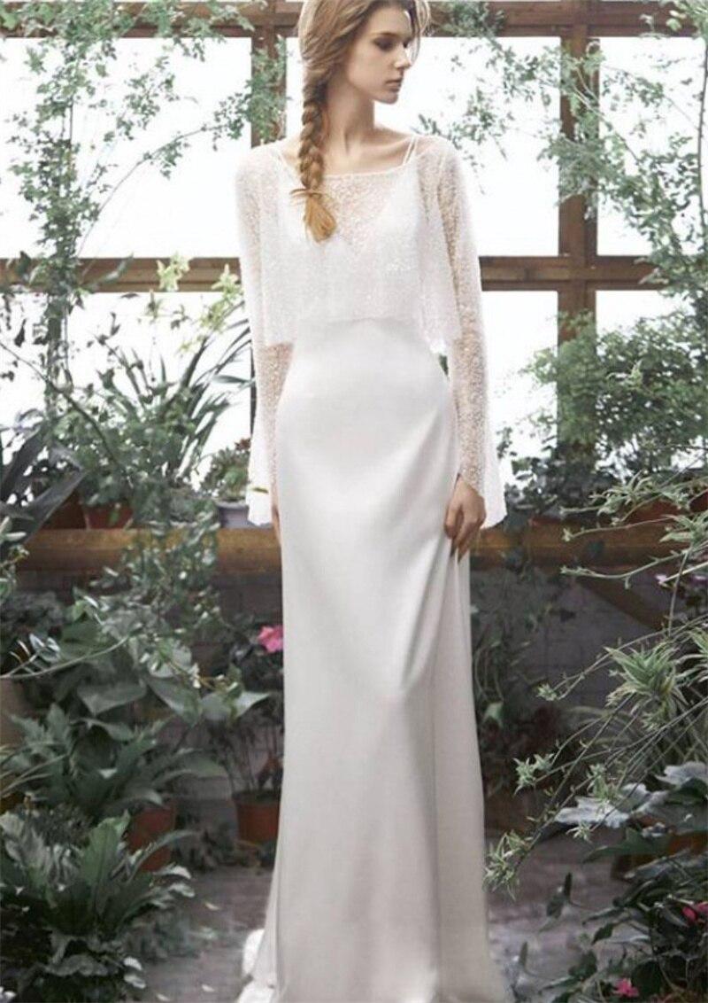 Get Two Piece Sweep Train O-Neck Mermaid Soft Satin Wedding Dress 2021 Elegant Full Sleeve Bridal Gowns vestidos de mairee Wedding