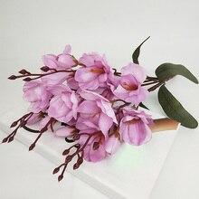 화이트 패브릭 목련 꽃 꽃다발 새 해 홈 파티 장식 겨울 45 Cm 인공 꽃 결혼식 용품에 대 한