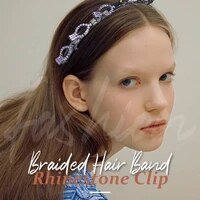 braided hair band rhinestone clip double layer bands clip hairbands fashion plastic braided headband punk new knitting womens he