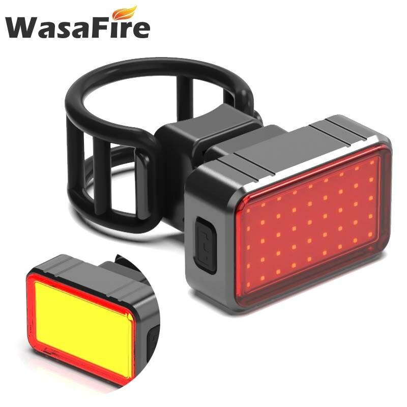 WasaFire, luz trasera de bicicleta recargable por USB, 4 modos, lámpara de advertencia de ciclismo, luz trasera inteligente de freno con detección de gravedad LED COB