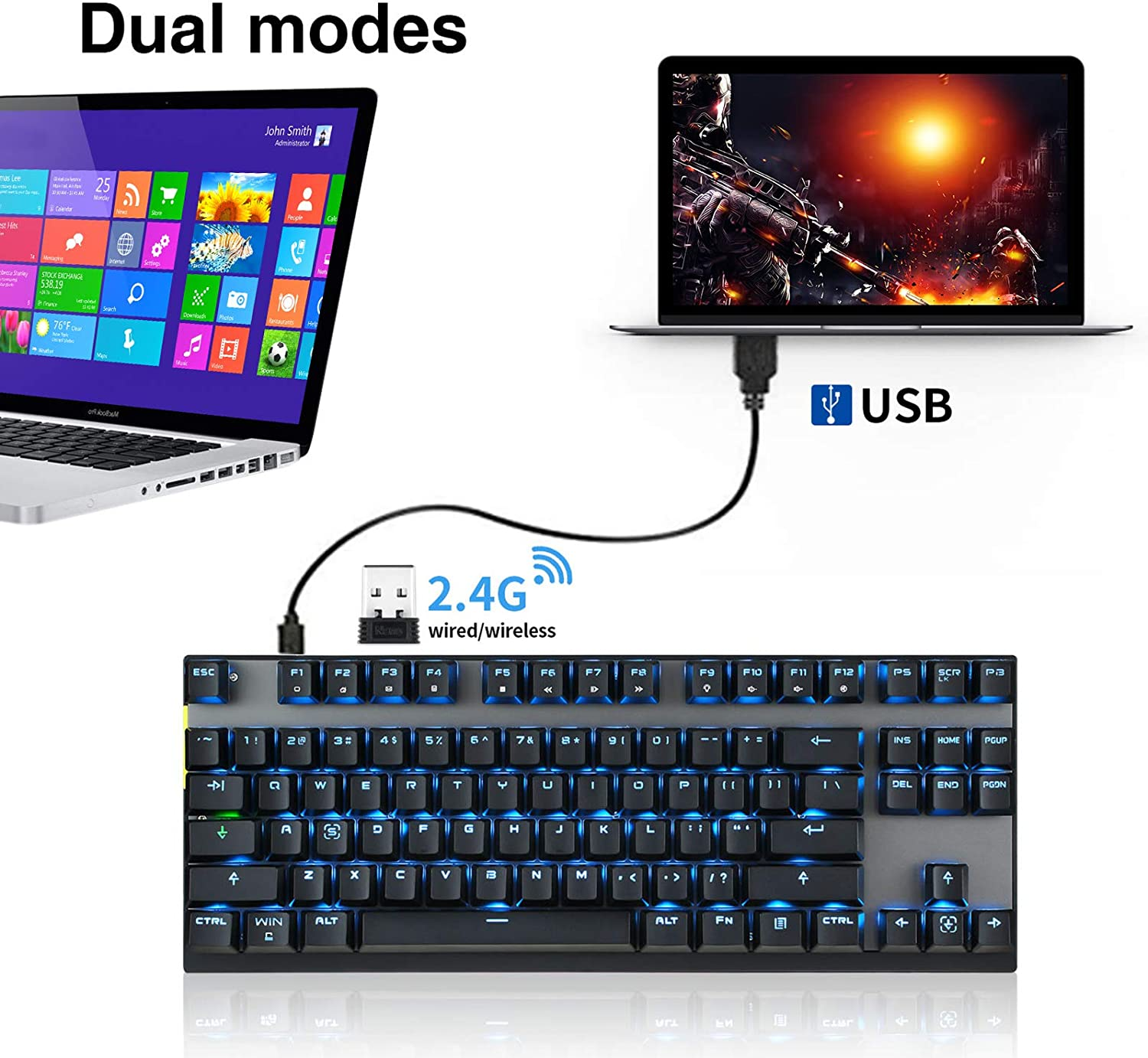 2.4G Wireless Dual Mode Motospeed Gaming Mechanical Keyboard 87 Key LED Backlit Anti-Ghosting USB Receiver For PC Computer Gamer