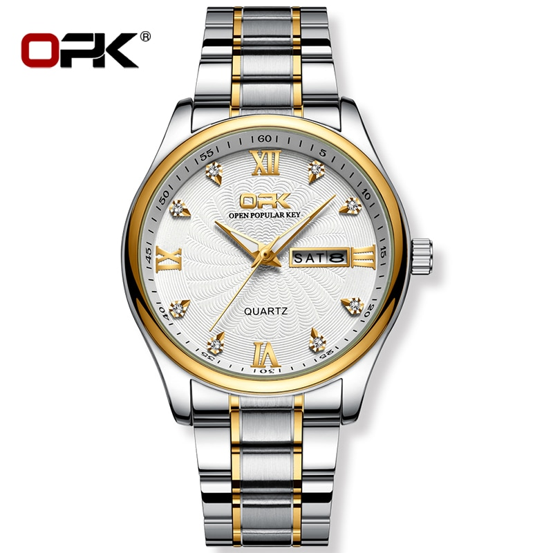 OPK 2021 Men's Business Watch 3Bar Waterproof Luminous Weekly Calendar Quartz Movement Simple Steel Band Watch Relogio Mangio браслет цепь opk 856 ph856