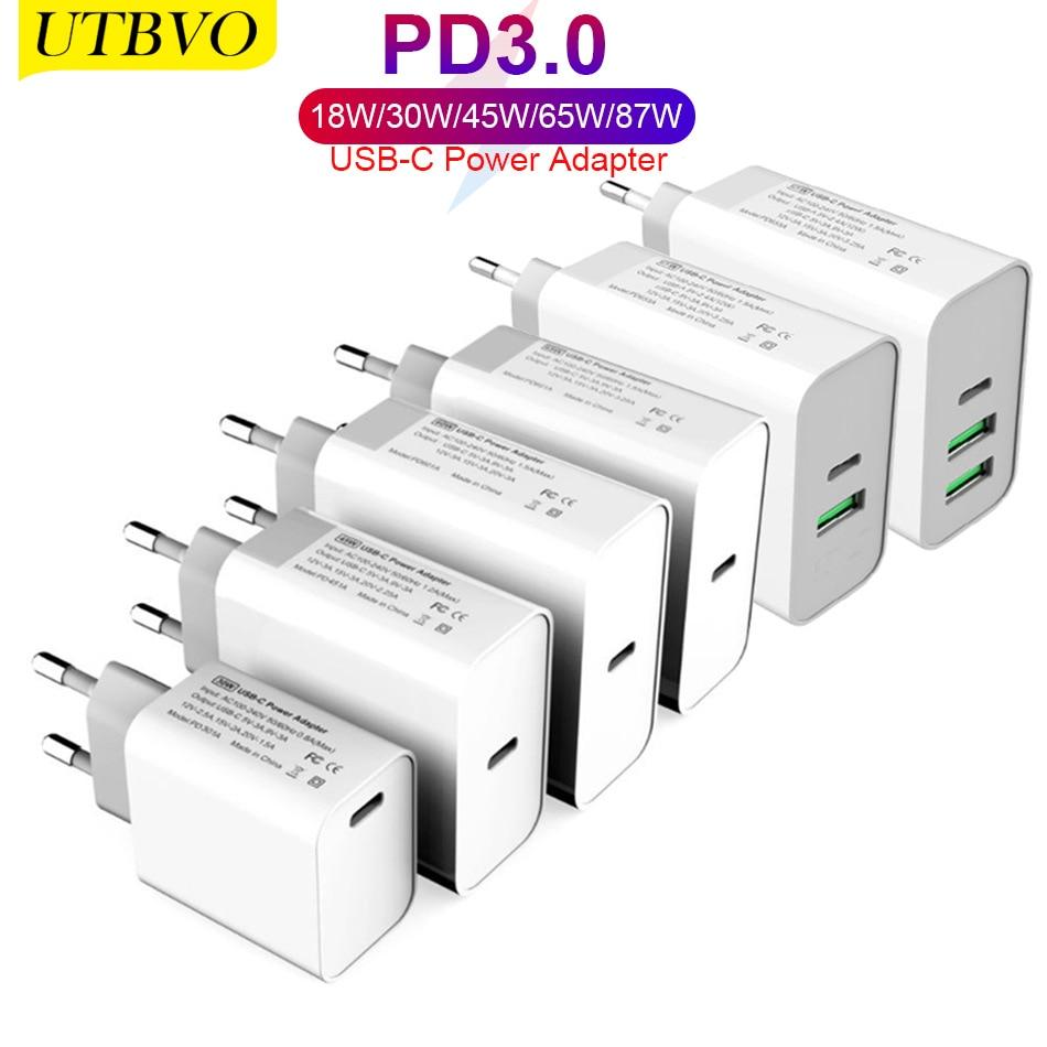 UTBVO USB-C محول الطاقة 18 واط 30 واط 45 واط 60 واط 65 واط 87 واط PD نوع-C شاحن لأجهزة الكمبيوتر المحمولة شاومي ماك بوك برو آيفون 12 باد سامسونج S9/S10