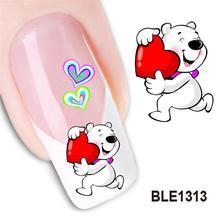 กันน้ำ Water Transfer Nails สติกเกอร์ศิลปะน่ารักการ์ตูนรักหมีเลดี้ผู้หญิงเล็บเครื่องมือตกแต่งเล็บ BLE1313