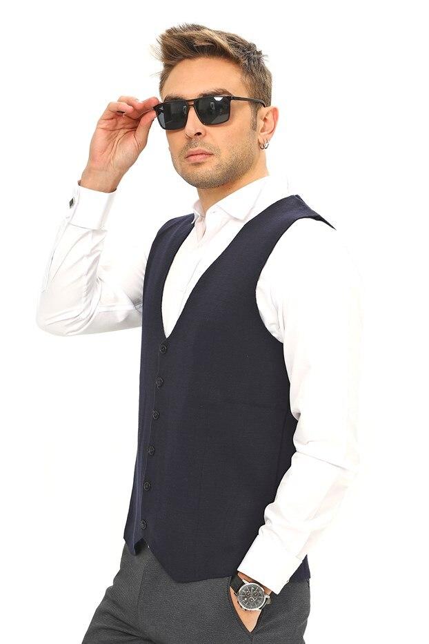 Male Wool Vest Navy Blue