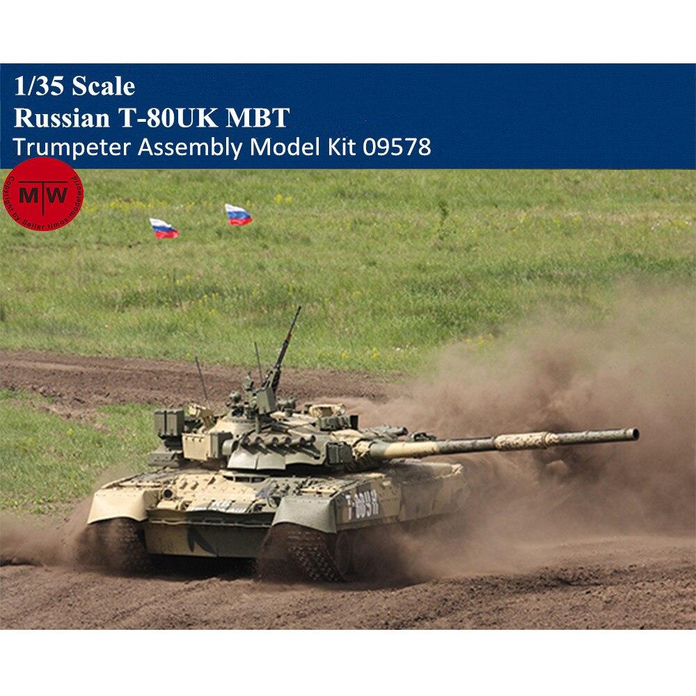 Trompeta 09578 1/35 escala ruso T-80UK MBT tanque de batalla principal de plástico militar conjunto modelo Kits