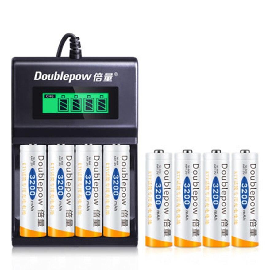 8 pces grande capacidade 1.2v 3200 mah aa bateria recarregável ni-mh bateria recarregável + 4-slot usb carregador de carregamento rápido inteligente