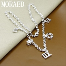925 Silver Chain Necklace Hollow Round Square Roma Pendant Necklace Women Men Fashion Jewelry Gift