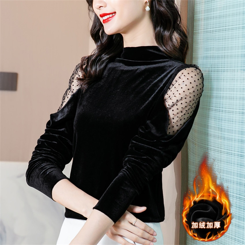 Black Velvet Blouse Long Sleeve High neck Pullover Winter Clothes Women 2021 Blusas Mujer De Moda Sexy Mesh Shirt Tops