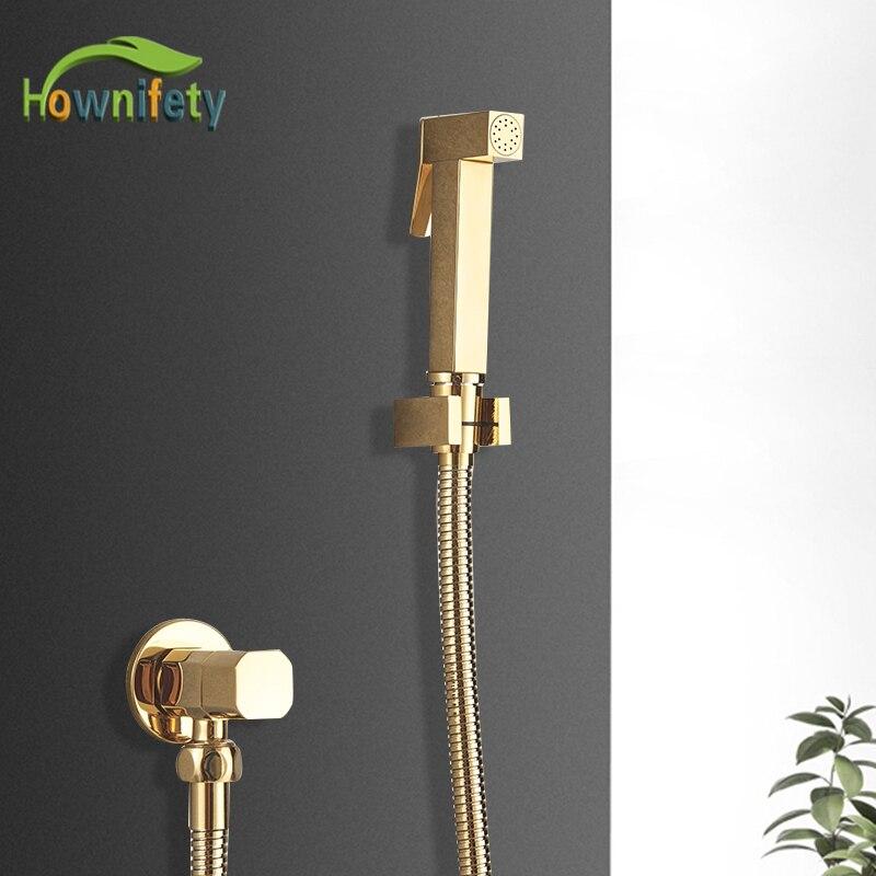 Grifo de bidé de baño dorado, solo grúa de agua fría, herramienta de lavado de inodoro, inodoro de suelo de lavado