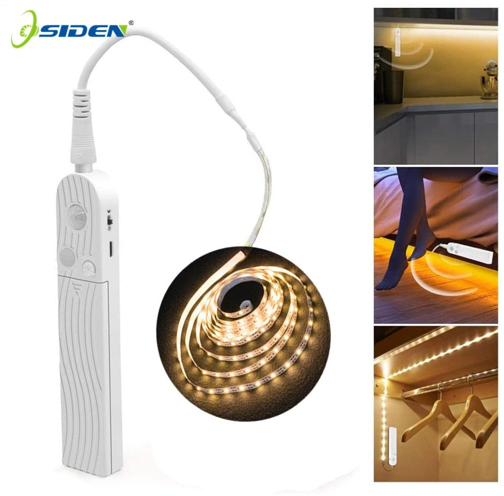 1M 2M 5M Wardrobe light strip PIR Motion sensor Night light Bed Cabinet Stairs light lamp Battery Powered Kitchen Cabinet Light