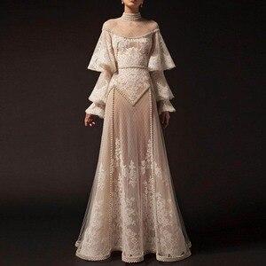 Evening Dresses With Sleeve Khaki Vestido De Festa Arabic Sheer Evening Dress Long robe de soiree Evening Gowns Lace abendleider