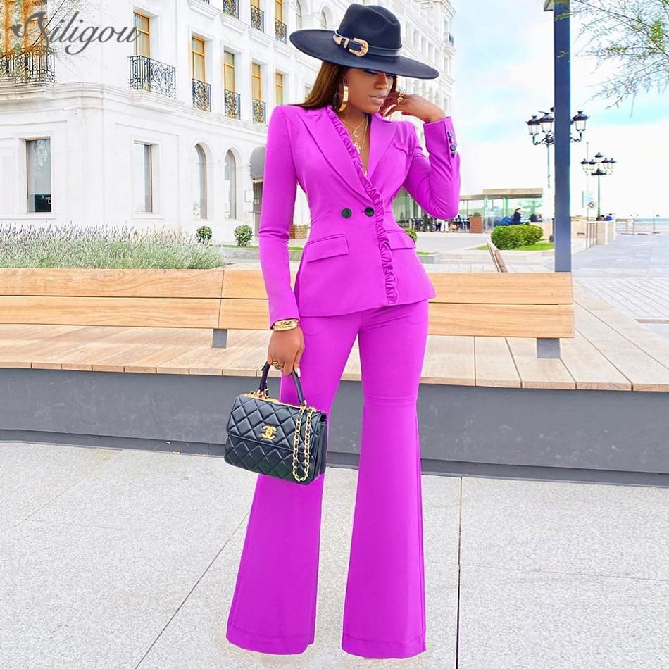 Ailigou New Office Ladies Women's Wide Leg Pants Suit Fuchsia Business Double-breasted Button Suit Pants Two-piece Formal Suit