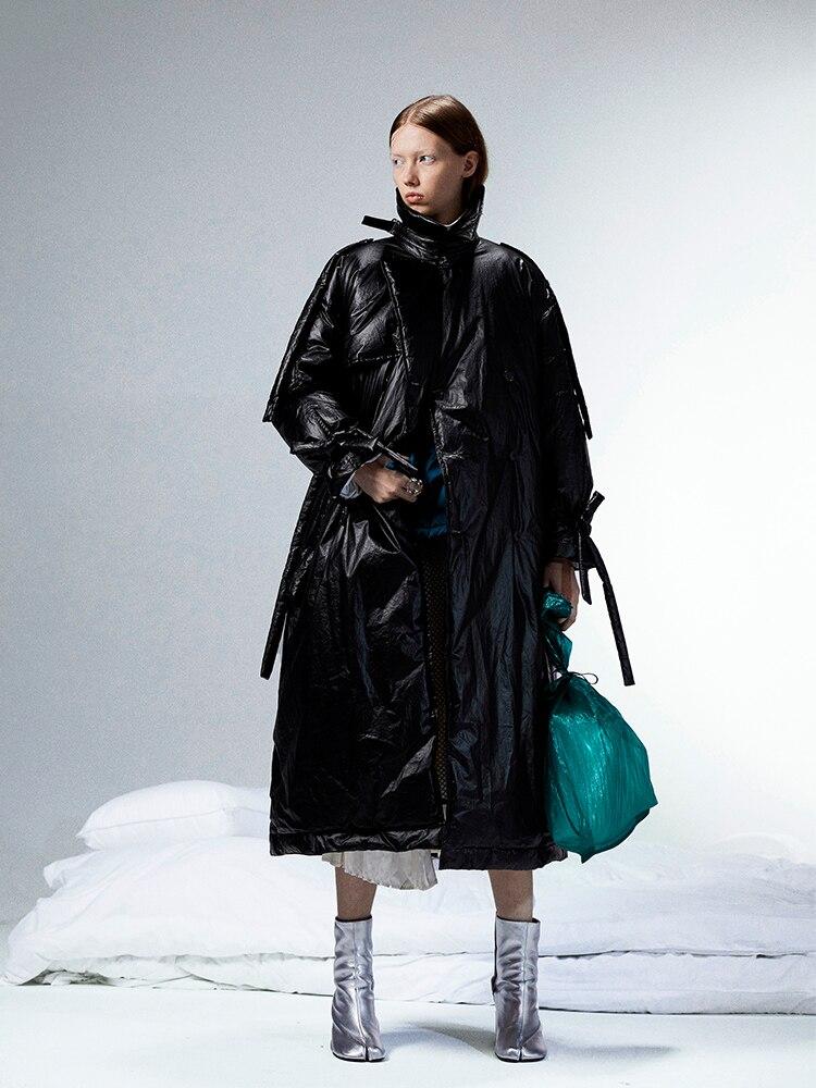 [11,11] 2019 invierno nueva colección de gabardina larga de gran tamaño tipo pato blanco chaqueta abrigo de mujer