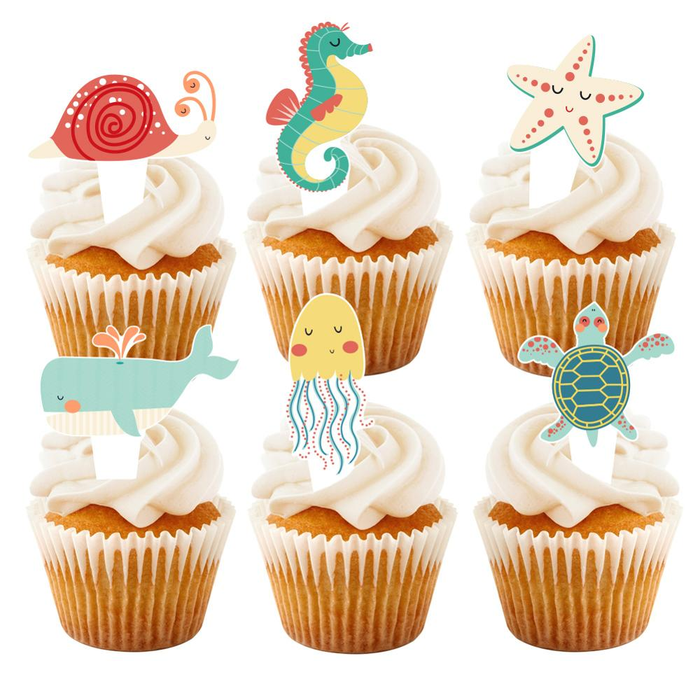 24 pçs sereia festa decoração bolo topper mar animais água-viva sob o mar sirenas chá de fraldas festa de aniversário decoração