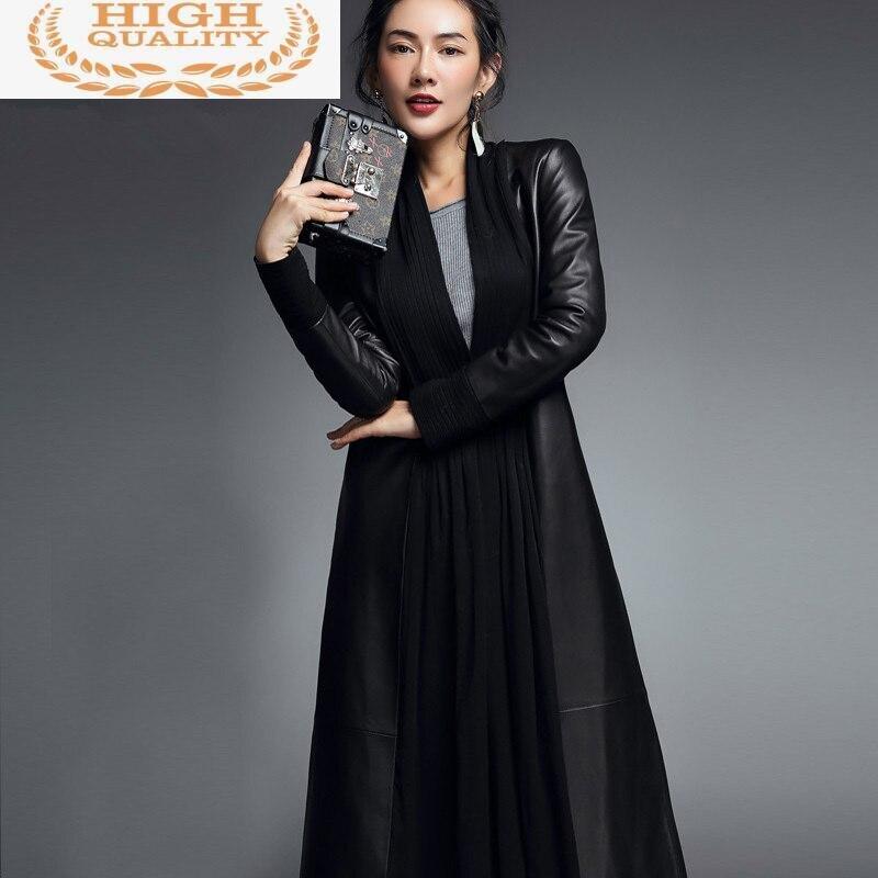 2021 سترة جلدية حقيقية سترة للربيع والخريف المرأة حقيقية جلد الغنم معطف الإناث الشارع الشهير سترة واقية طويلة XS16D78-08