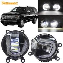 Buildreamen2 Car H11 LED Projector Fog Light + Daytime Running Light DRL White 12V Accessories For Lincoln Navigator 2007-2014