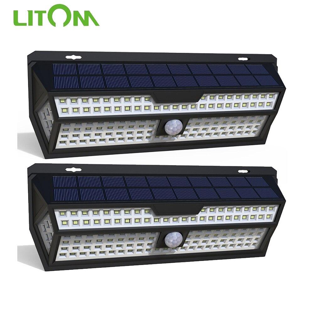 LITOM-1/2 مصباح حائط LED مع كاشف حركة PIR ، مقاوم للماء وفقًا لمعيار IP65 ، إضاءة خارجية ، مثالي لتزيين الحدائق ، عبوة من 132