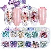 abalone shell irregular nail art decorations flake slider nails shimmer pearl jewelry tips manicure polish