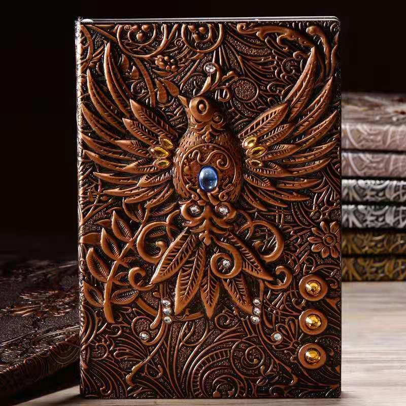 Anaglyph Gilding Owl Notebook Retro Planner Bronze Book School Supplies Office Culture and Education grid notebook
