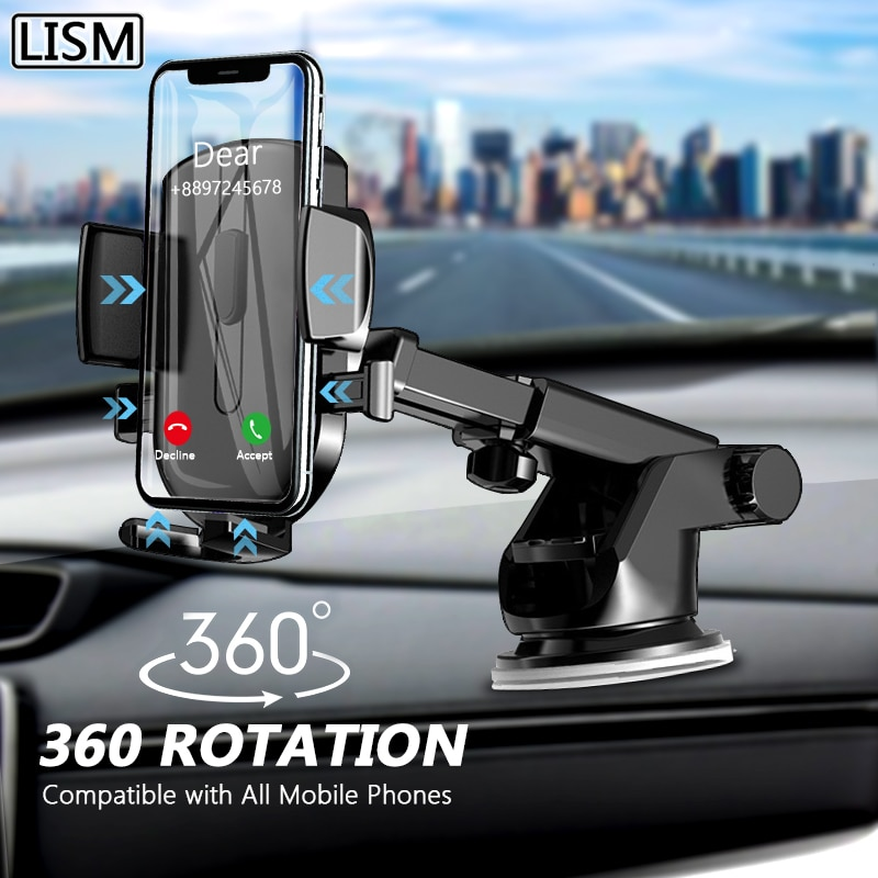 LISM Sucker Car Phone Holder Mobile Phone Holder Stand in Car No Magnetic GPS Mount Support For iPho