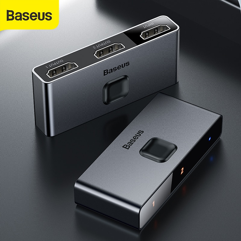Baseus Dual Modes HD Splitter Two-way Switch 1-in-2 or 2-in-1 Digital Light Display Audio Video Switching 4K