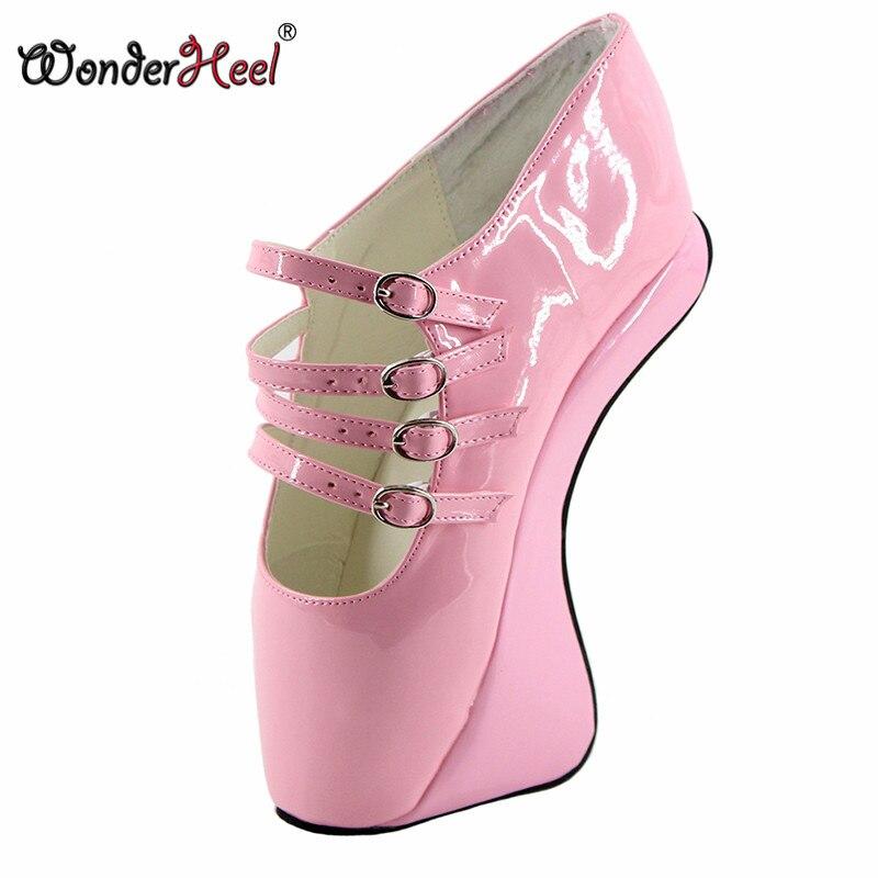 Wonderheel, nuevas botas de ballet, botines de BALLET de 7 pulgadas de cuña, bota corta sexi, tacones altos fetichismo, patente loepard, botas con hebilla cruzada para espectáculo de ballet