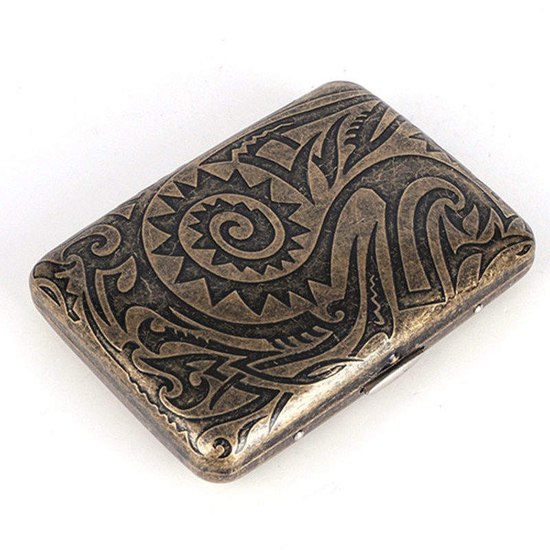 16 Sticks Capacity Cigarette Case Bronze Vintage Pattern Cigarette Holder Pocket Box Men Gift Smoking Accessories
