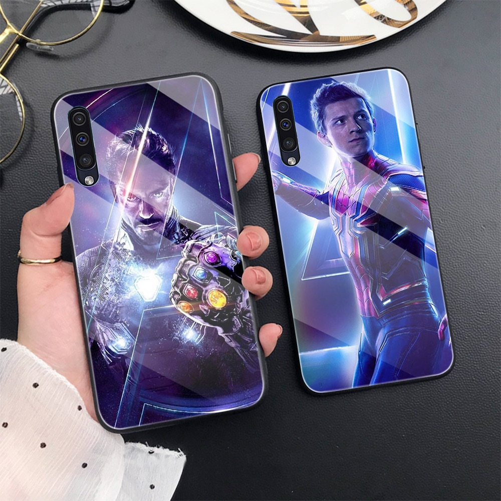 Marvel Fall Für Samsung A50 A70 A20 A40 A51 A71 A20E S10 S20 S9 S8 S7 Rand Ultra Puls Hinweis 10 9 8 Plus Glas Phone Cases Abdeckung