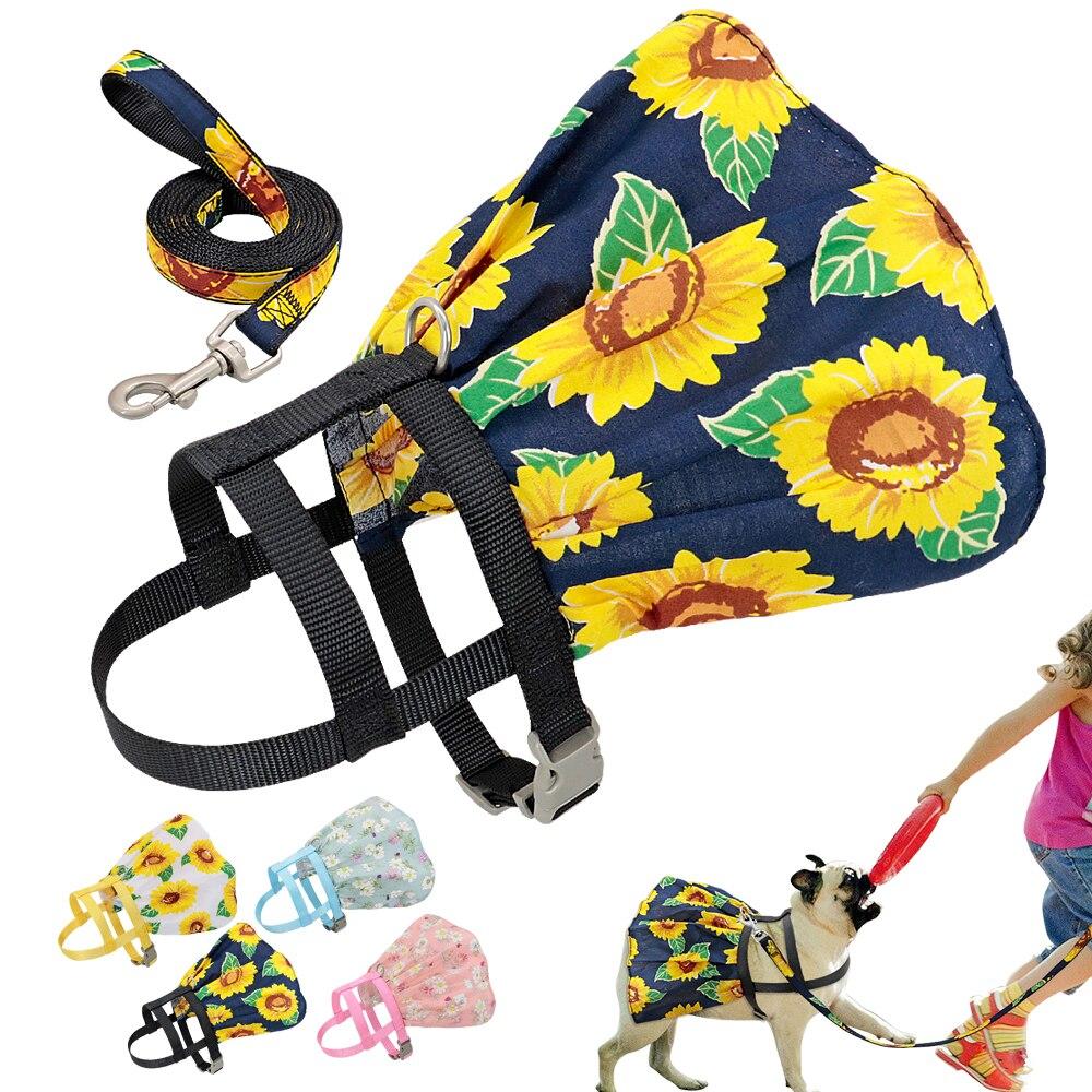 Juego de arnés de flores para perros con correa, ropa con estampado de perro, arnés de mascota ajustable de nailon, vestido Floral para perros pequeños, medianos y gatos