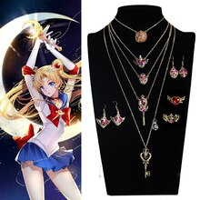 Moon cosplay Crystal Pendant Necklace Girl accessories Cute props