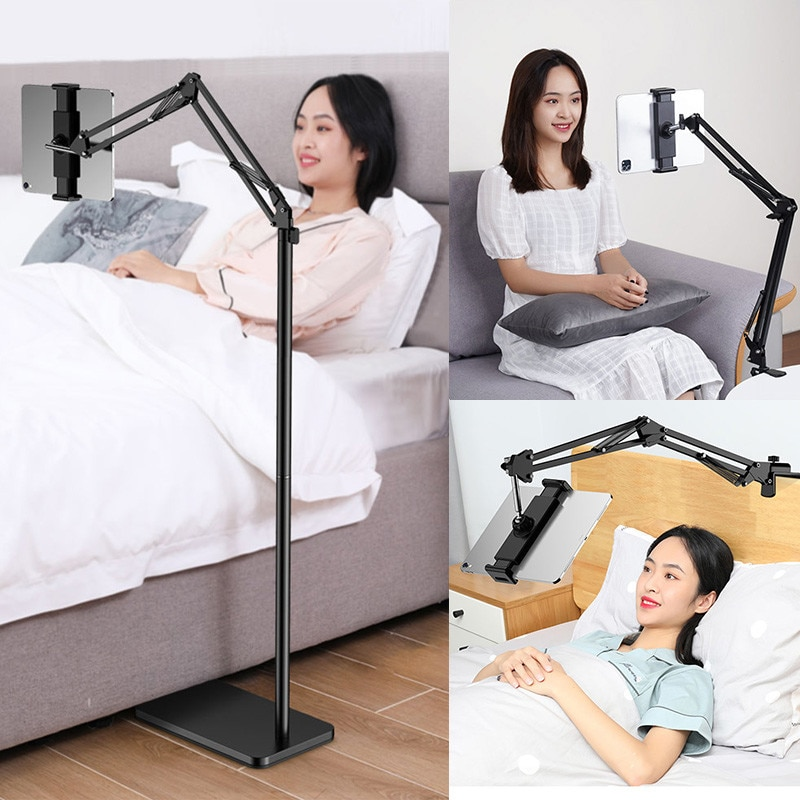 Ipad Holder Stand Adjustable 180cm Liftable Foldable Arm Floor Tablet Phone Stand Support for 5-13 Inch IPhone IPad Pro12.9
