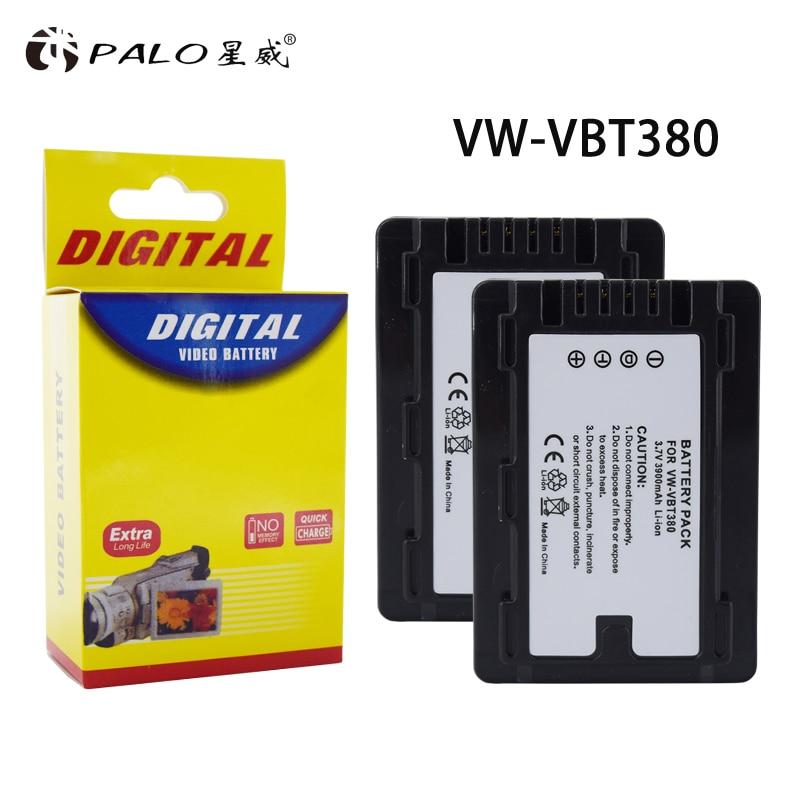 Bateria para Câmera Palo Digital Panasonic Hc-v110 Hc-v130 Hc-v160 Hc-v180 Hc-v201 Hc-v250 Hc-v260 2pcs 3900mah Vw-vbt380 Vbt380