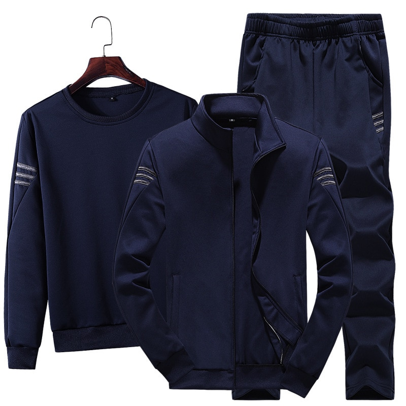Oloey Sports Suit Men New Casual Three-piece 2020 Spring and Autumn Youth Handsome Sweater Coat Tracksuit Clothes for
